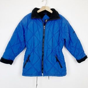 Vintage quilted puffer jacket drawstring waist 90s